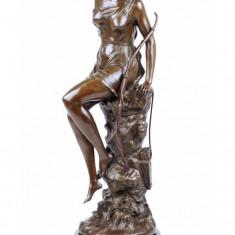 DIANA - STATUETA DIN BRONZ PE SOCLU DIN MARMURA - Sculptura, Nuduri