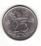 Olanda 25 centi 1965 - Juliana, Europa, Nichel
