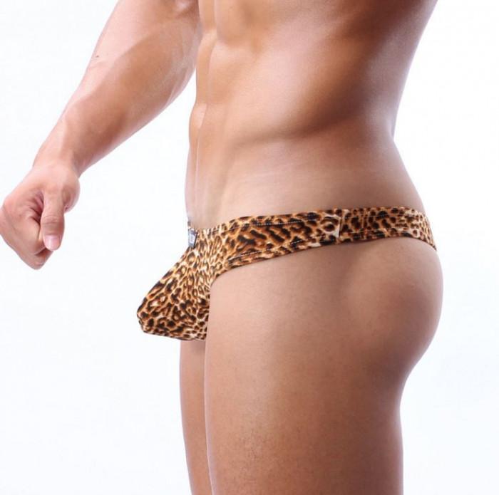Chiloti Barbati Chilot Tanga String Leopard Model Push Up Cockoon Sexy Jockstrap