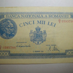 5000 lei 1944 Decembrie - Bancnota romaneasca