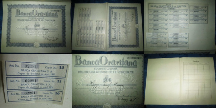 Act vechi Banca Oravitana-Titlu 500lei 1926,35.5/ 24.5 cm.