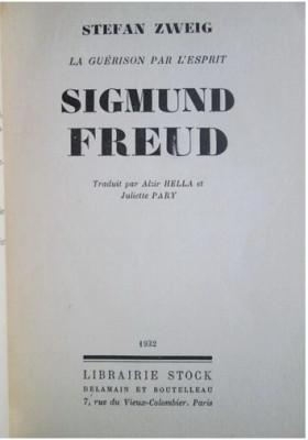 S Zweig La guerison par l'esprit S. Freud  Stock 1932 foto