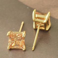 Cercei cubic zirconiu champagne gold filled placati aur ideal cadou - Cercei placati cu aur Swarovski