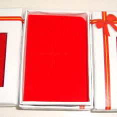 Cutie bijuterii -martisor 7/5 cm alb cu catifea rosu interior, 12 bc/set,