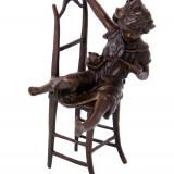 FETITA CU PISICA - STATUETA DIN BRONZ PE SOCLU DIN MARMURA - Sculptura, Religie