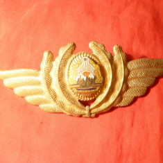 Insigna Sapca Aviatie RSR , metal si email ,L= 12,7 cm , aurit