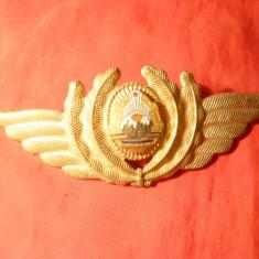 Insigna Sapca Aviatie RSR, metal si email, L= 12, 7 cm, aurit
