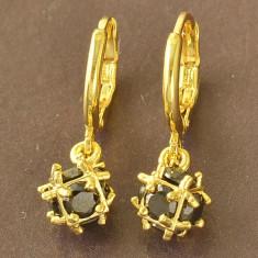 LIVRARE GRATIS Cercei cubic zirconiu negrii gold filled placati aur ideal cadou - Cercei placati cu aur pandora