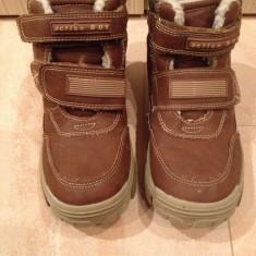 Bocanci imblaniti pentru baieti, marimea 34, culoare maro - Pantofi copii, Piele sintetica