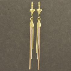 Cercei lungi gold filled filati placati cu aur 3 tonuri - ideal cadou+cutiuta - Cercei placati cu aur Guess