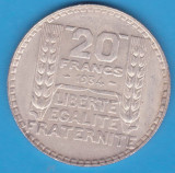 (6) MONEDA DIN ARGINT FRANTA - 20 FRANCS 1934, 20 GRAME