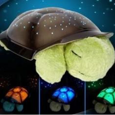 Lampa de  veghe copii Proiector tavan broscuta testoasa muzicala + cablu USB, Nu, Multicolor