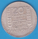 (2) MONEDA DIN ARGINT FRANTA - 20 FRANCS 1934, 20 GRAME