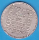 (1) MONEDA DIN ARGINT FRANTA - 20 FRANCS 1938, 20 GRAME, Europa
