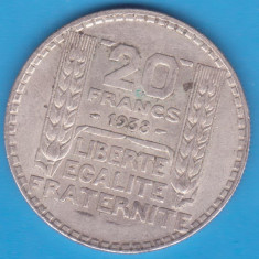 (1) MONEDA DIN ARGINT FRANTA - 20 FRANCS 1938, 20 GRAME