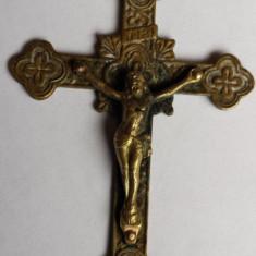 RAR Crucifix Isus pe Cruce Franta 1900 medalion Masiv Impunator de Colectie ++++