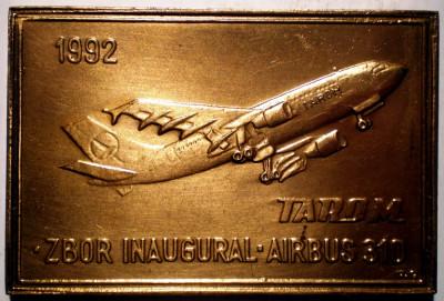 5.219 PLACHETA AVIATIE TAROM ZBOR INAUGURAL AIRBUS 310 1992 61/41mm foto