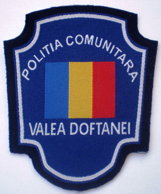 5.521 ROMANIA ECUSON POLITIA COMUNITARA VALEA DOFTANEI 97/82mm foto