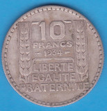 (1) MONEDA DIN ARGINT FRANTA - 10 FRANCS 1934, 10 GRAME