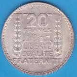 (4) MONEDA DIN ARGINT FRANTA - 20 FRANCS 1934, 20 GRAME