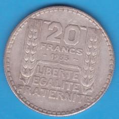 (6) MONEDA DIN ARGINT FRANTA - 20 FRANCS 1933, 20 GRAME