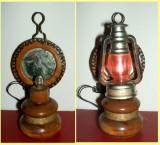 Miniatura lampa artizanala din lemn anii 70, arta mestesugareasca Epoca de Aur