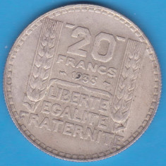 (3) MONEDA DIN ARGINT FRANTA - 20 FRANCS 1933, 20 GRAME