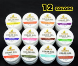 Cumpara ieftin Kit Set Gel 12 Color Geluri Colorate 5ML (8G) GD COCO Lampa uv + BUFFER CADOU, Gel colorat