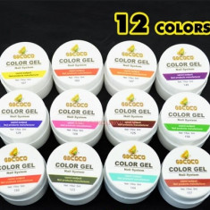 Kit Set Gel 12 Color Geluri Colorate 5ML (8G) GD COCO Lampa uv + BUFFER CADOU