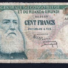 Belgian Congo 100 Francs 1959 P#33b - bancnota africa