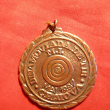 Medalie cu toarta - Dinamoviada de Tir Mai 1987 Craiova, bronz, h= 4, 5 cm - Medalii Romania