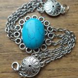 Bratara argintie cu imitatie de turcoaz