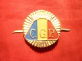 Insigna Sapca   CGP -Corp Gardieni Publici  , metal si email , d =4,2 cm