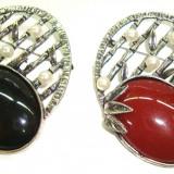 Brosa din aliaj antichizat si perle MARTISOARE -model  Vintage