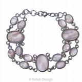 Brățară dublă din argint 925 cu pietre ovale de cuarț roz