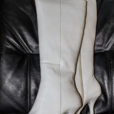 Cizme de damă - albe - PIELE NATURALĂ- NOI - Cizma dama, Marime: 37, Piele naturala