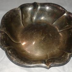 Fructiera veche argintata din zinc antimoniu marcata - Metal/Fonta, Vase