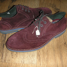 OFERTA! Pantofi oxford LUX TED BAKER ORIGINALI piele intoarsa mov inchis Sz 41! - Pantofi barbati