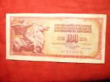 Bancnota 100 Dinari 1986 Yugoslavia , cal.medie-Buna ,cu fir control