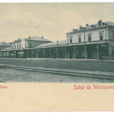2586 - Caras-Severin, VERCIOROVA, Railway Station - old postcard - unused - Carte Postala Banat 1904-1918, Necirculata, Printata