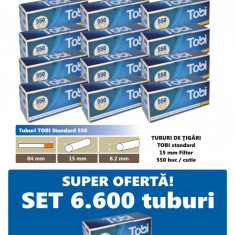 Ofertă! 6.600 Tuburi de tigari cu filtru maro TOBI 550 pentru injectat tutun - Filtru tutun