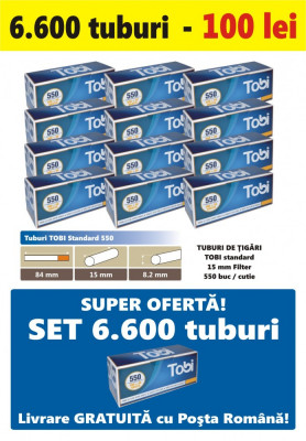 Ofertă! 6.600 Tuburi de tigari cu filtru maro TOBI 550 pentru injectat tutun foto