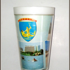 Pahar de plastic anii '60 - suvenir Litoral Neptun
