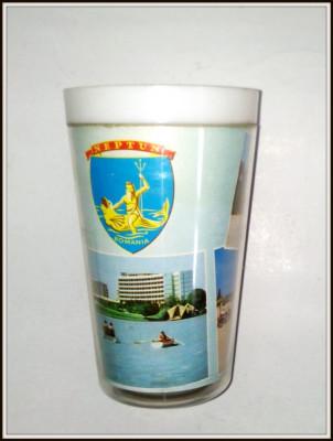 Pahar de plastic anii '60 - suvenir Litoral Neptun foto