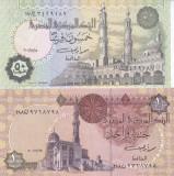Bancnota Egipt 50 Piastres/ 1 Pound 2001 - P62/ P50f UNC (set 2 bancnote)