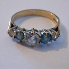 Inel aur 14K cu safire si zirconii - 447, Culoare: Galben
