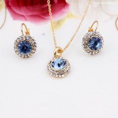 Set Aur - Albastru - Cercei/Medalion - Aur placat 18k - Cristale/Femei/Elegant - Set bijuterii placate cu aur