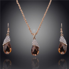 Set Aur - Maro - Cercei/Medalion - Aur placat 14k - Cristale/Femei/Elegant - Set bijuterii placate cu aur