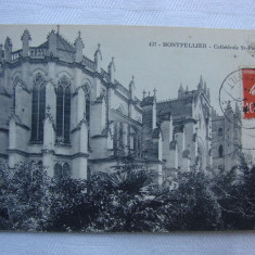 Carte postala circulata din anul 1915 - Montpellier Cathedrale St. Pierre, Franta, Printata