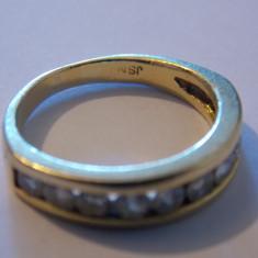Inel aur 18k cu 10 diamante - 443, Culoare: Galben